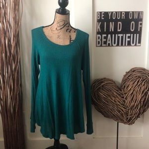 Mossimo supply co. Emerald green waffle knit tunic
